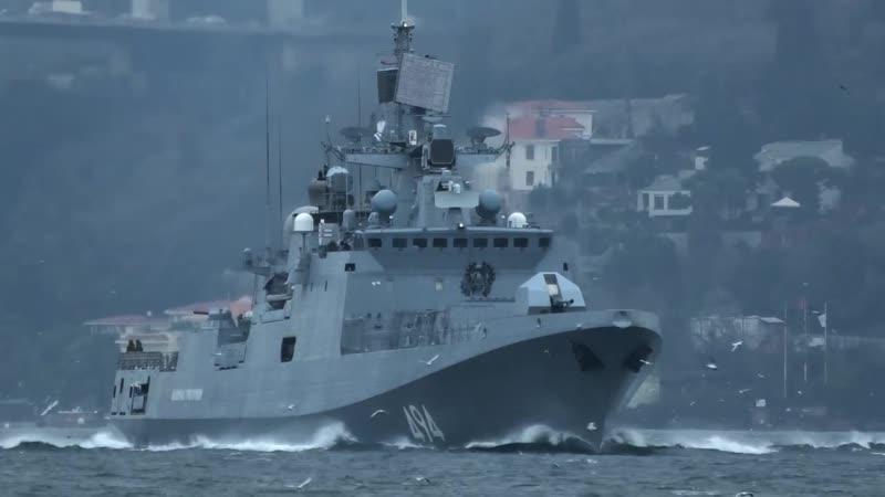 Фрегат Адмирал Григорович проходит Черноморские проливы