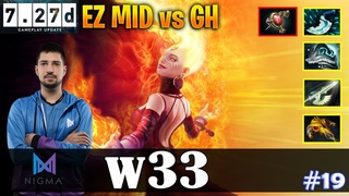 w33 - Lina | EZ MID vs GH (IO) |  Update Patch | Dota 2 Pro MMR Gameplay #19
