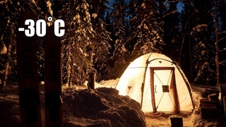 2 Days WINTER CAMPING with My Girl. Hot Tent at -30˚С in March
