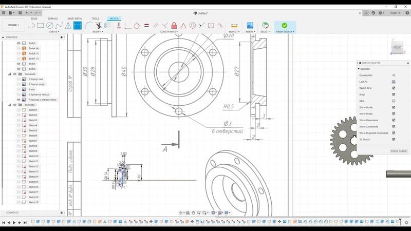 8.5 Заглушка с отверстиями для редуктора во Fusion 360 по чертежу.