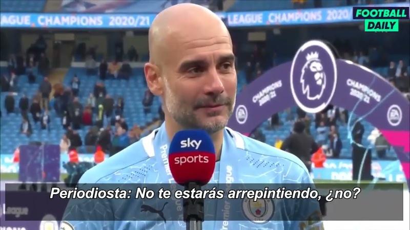 Guardiola llora en la despedida del Kun Agüero en su último partido de la Premier League con el City