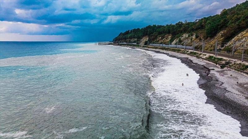Кадры с дрона Шторм и большие волны на Черном море 2020