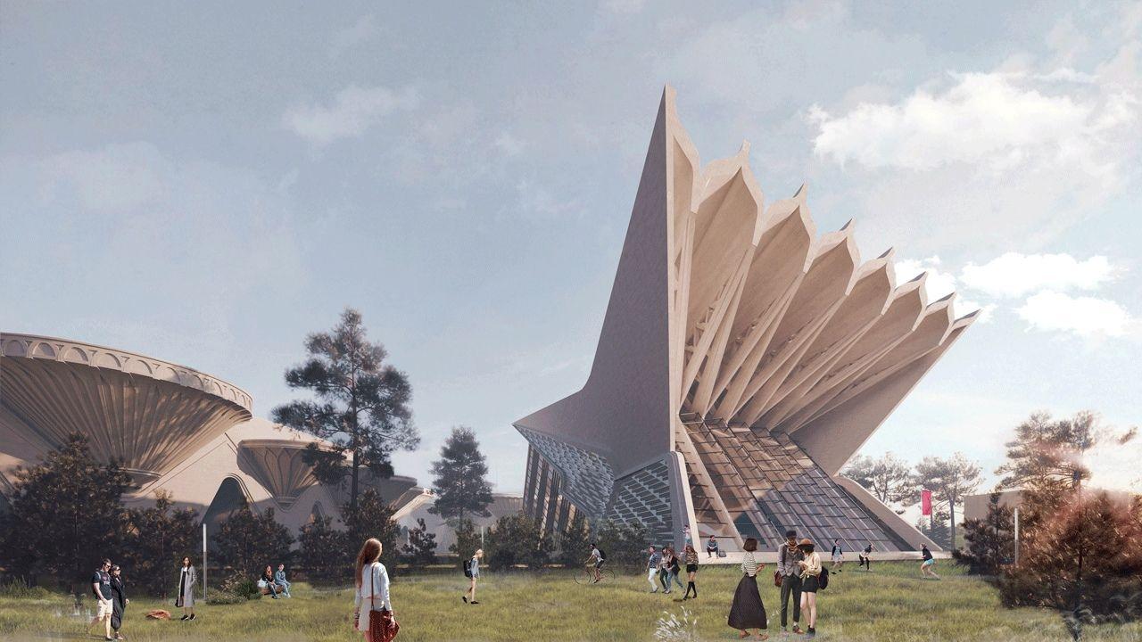 Проект футуристичного города с русскими национальными мотивами от архитектурного бюро Мегабудка!
