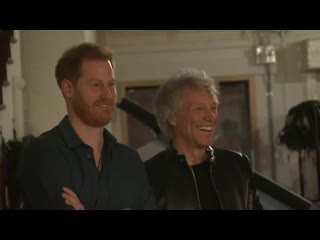 The duke of sussex has joined us rock star jon bon jovi at the famous abbey road studios in north london