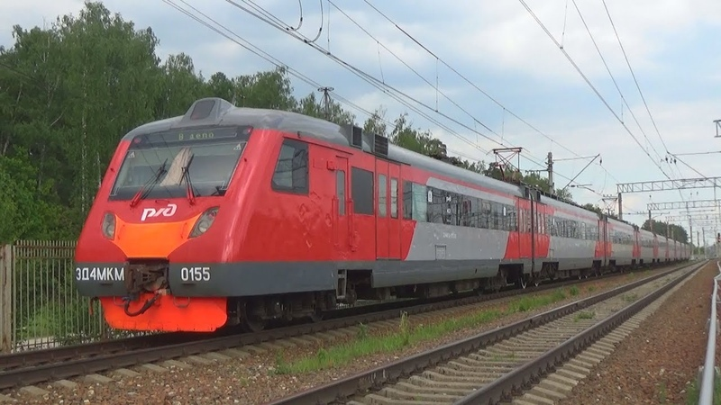 Возвращение электропоезда ЭД4МКМ-0155 из Лобни в Железнодорожный!