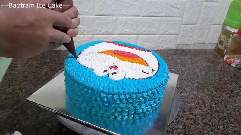 Decorate Make The Simplest Doremon Shaped Cake 46 Trang trí bánh kem hình doremon đơn giản nhất
