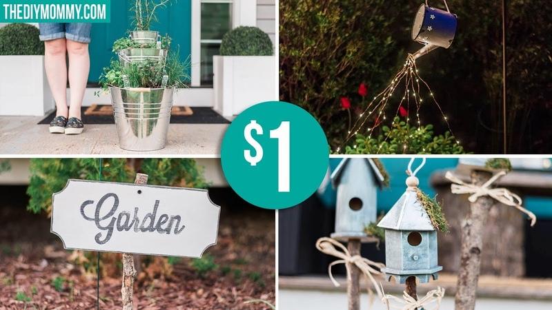 DOLLAR STORE GARDEN DIY IDEAS Farmhouse Inspired Light Planter Sign Birdhouses