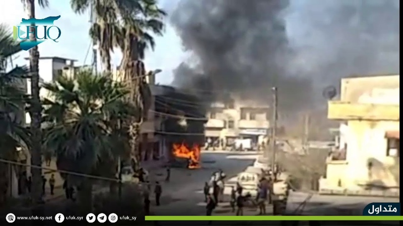 إنفجار عبوة ناسفة بسيارة في مدينة حارم شمال إدلب على الحدود السورية التركية