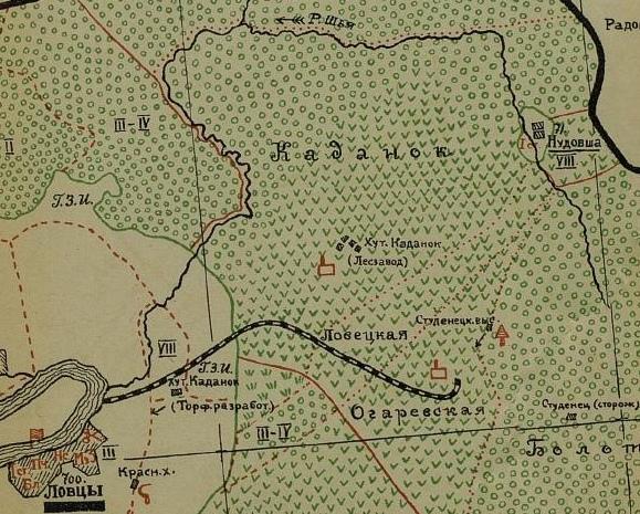 Каданок на карте Ловецкой волости Зарайского уезда, 1927 год.