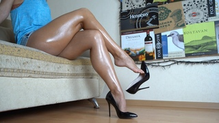 Showing My Oily Legs And Feet In Black Pumps