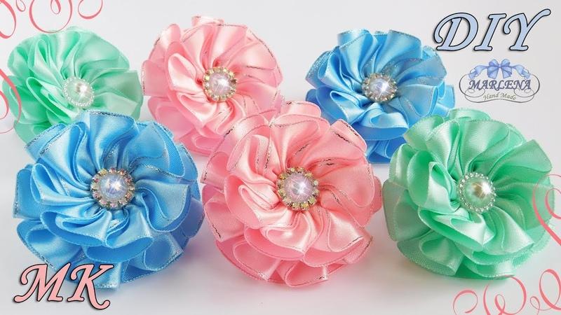 Бантики резинки с самодельной серединкой МК DIY kanzashi flowers