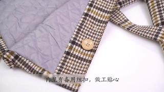 Детское пальто для девочек зимнее новое модное шерстяное с узором «гусиные лапки» подростков осенняя