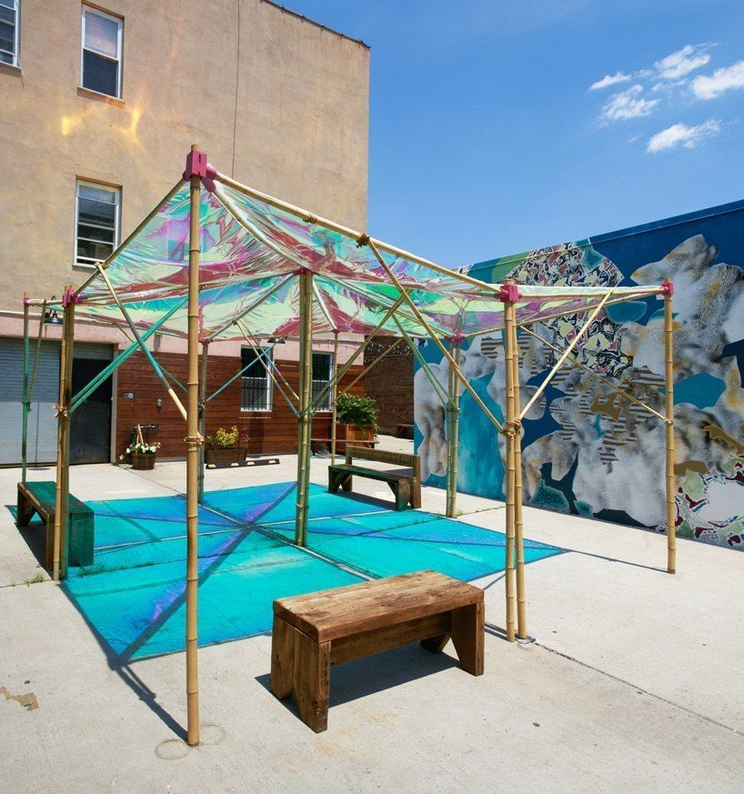 architensions reinterprets the tent typology with a public space activator in new york