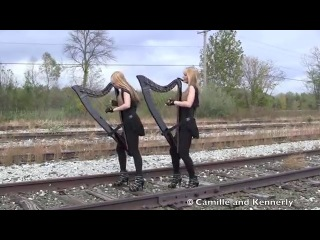 Американские сестры-близнецы игрют на арфах!!!  U2 - With Or Without You (Harp Twins electric) Camille and Kennerl