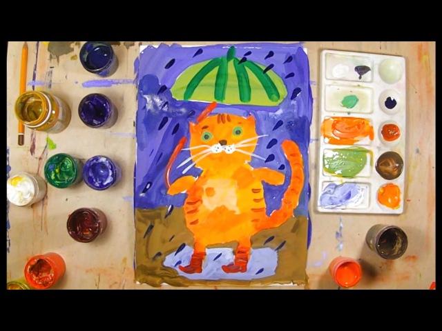 Как нарисовать кота урок рисования для детей 4 7 лет Дети рисуют котика поэтапно