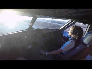 Cockpit View of Female Pilot Tel Aviv LLBG Landing