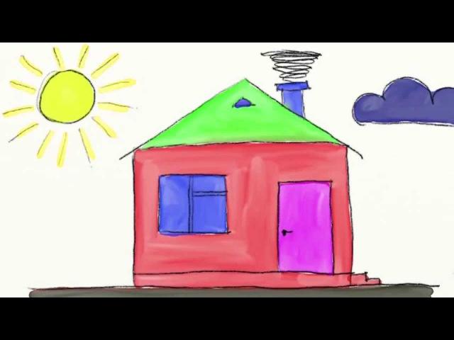 Развивающие мультики для детей Урок рисования Раскраска Рисуем Дом