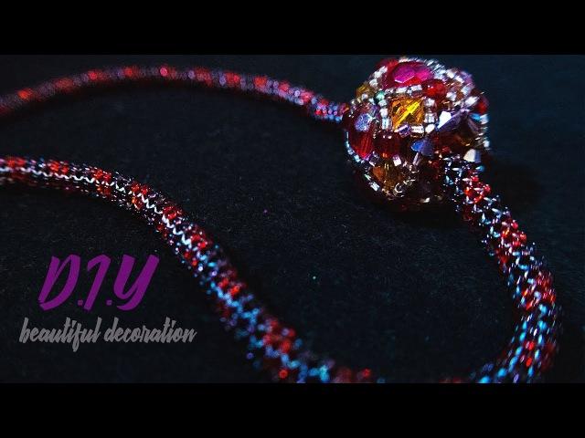 TUTORIAL. Beadcrochet bracelet/ МАСТЕР - КЛАСС.Жгут из бисера