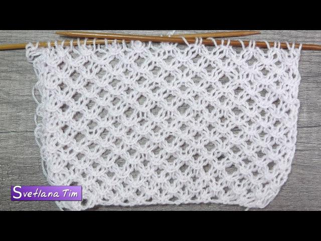 Как связать спицами узор Ажурная Сетка Вязание на спицах 522