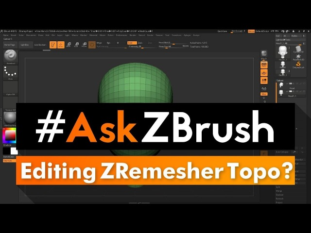 """AskZBrush: """"Is there a way I can edit topology created from ZRemesher using ZSpheres?"""""""