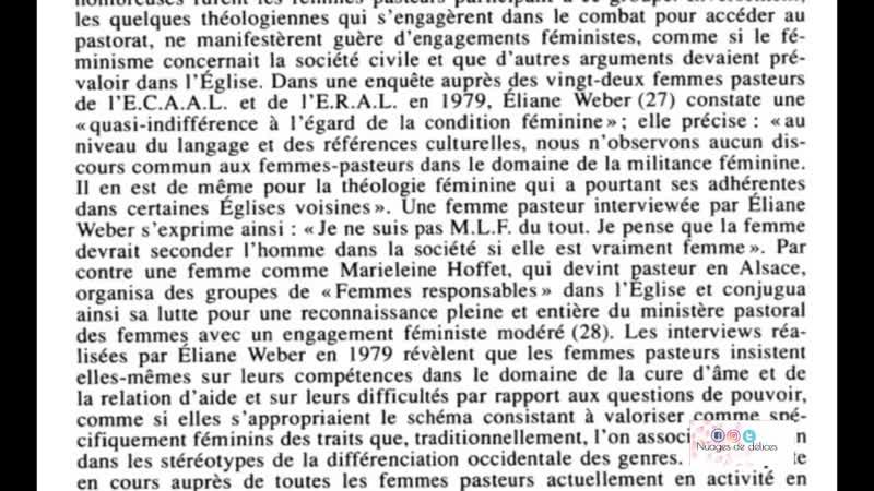 FEMMES PASTEUR _ LE POINT DE VUE HISTORIQUE
