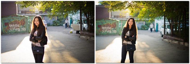 Слева Кроп с линзой 35mm и f/1,4, а справа полный кадр с линзой 50mm и f/1.4 Разница в мужЫке с пакетами на заднем плане. Полный кадр чуть сильнее размывает задний план и все!