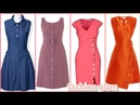 Latest daily wear open style with buttons casual midi dress for women's