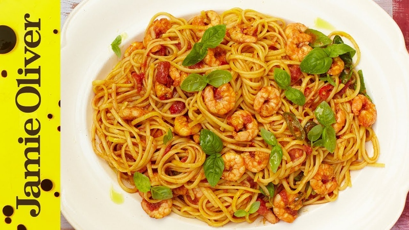 Sicilian Prawn Linguine Jamie's 15 Minute Meals 2012