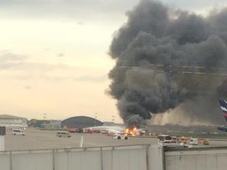 В Шереметьево  аварийная посадка самолета из-за пожара на борту