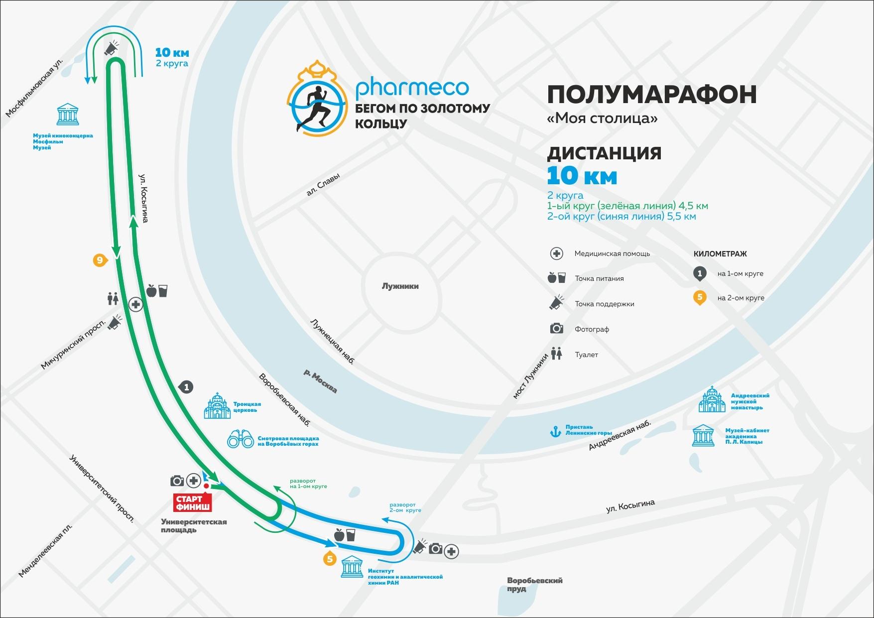 Карта-схема дистанции 10 км полумарафона в Москве - Моя столица 2019
