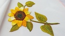 Еmbroidery : Sunflower  woven picot stitch   Цветочная вышивка: Подсолнух