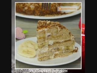 Домашний банановый торт.  Вкусно и легко