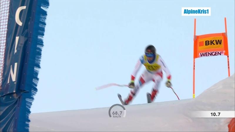 Alpine Skiing Wengen 2020 Caviezel close call