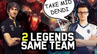 When Legends Meet in Dota 2 - Miracle Gives Mid To Dendi - Shadow Fiend + Slark vs LVL 25 Spammer