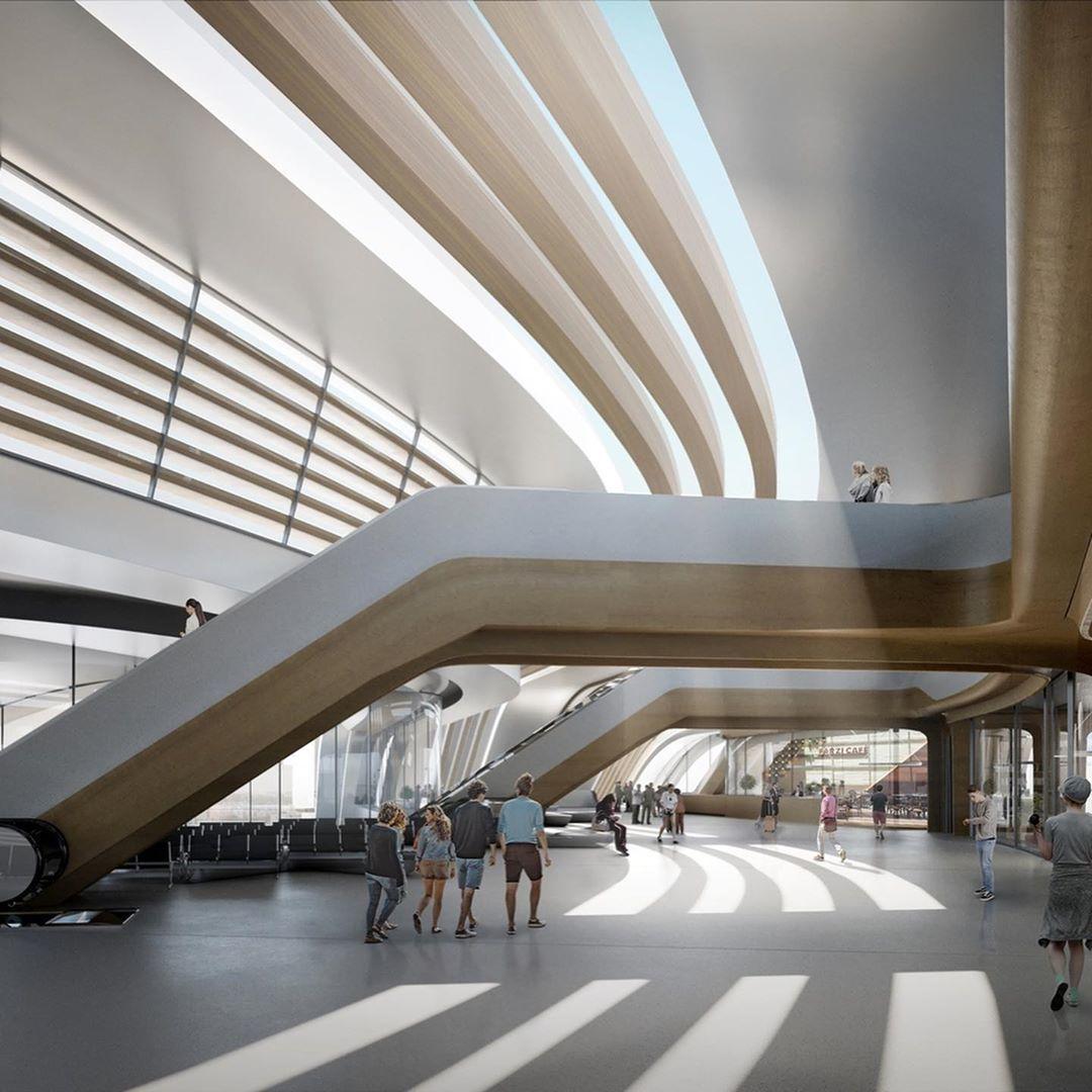 Terminal of the Rail Baltic railway at Ülemiste, Tallinn  by Zaha Hadid Architects