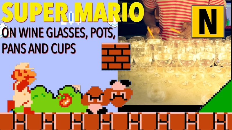 Super Mario Bros Theme Song on Wine Glasses and a Frying Pan 슈퍼 마리오 브라더스 スーパーマリオブラザーズ 超級