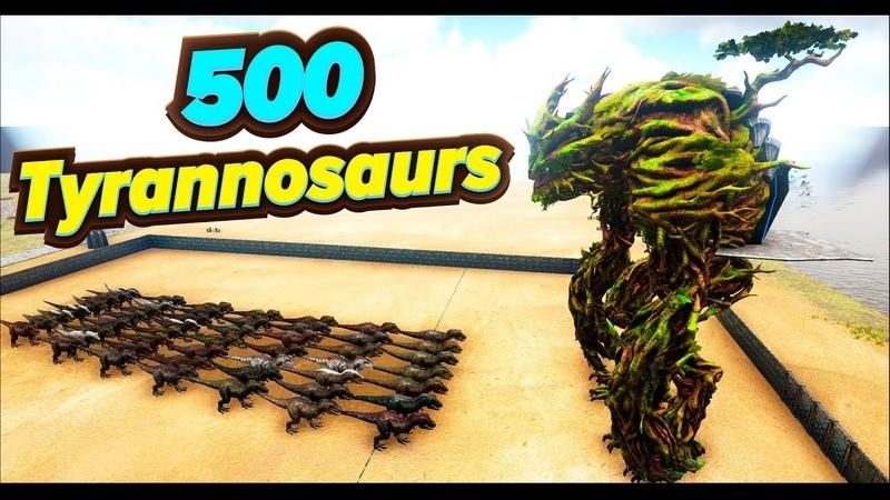 Army 500 Tyrannosaurs vs BOSS Forest Titan! ARK. Battle Dino