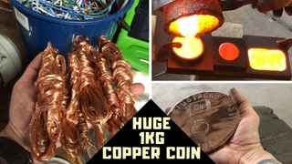 Huge 1KG Copper Coin Casting - Cable To Coin - Molten Copper