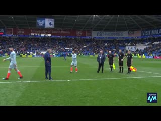 Neil Warnocks stare down with the officials at full time
