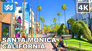 Walking tour of Santa Monica in Los Angeles, California USA 2020 Travel Guide 🎧【4K】