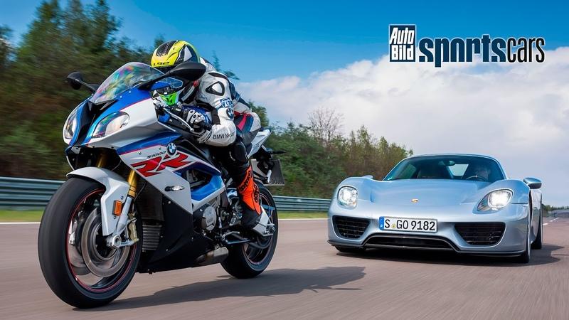 0 300 km h DUELL Porsche 918 Spyder vs BMW S 1000 RR Motorrad gegen Auto AUTO BILD SPORTSCARS