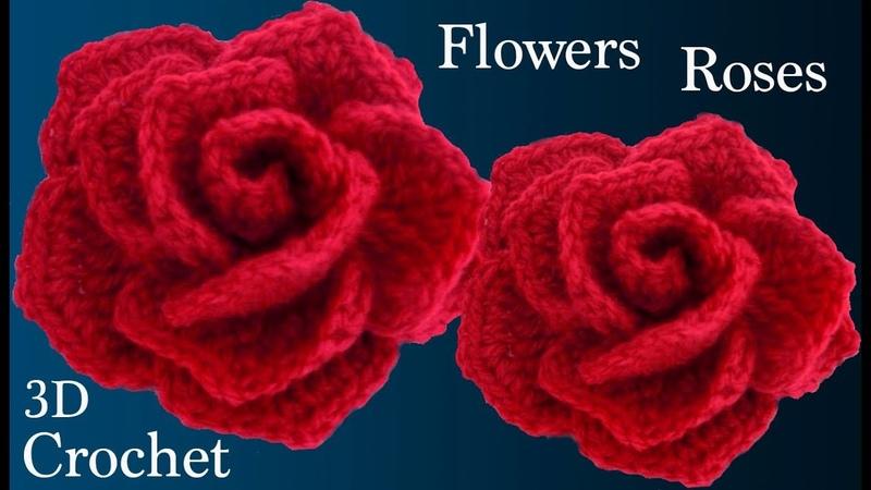 Como hacer rosas rojas muy fácil con una tira a crochet para San Valentín tejido tallermanualperu