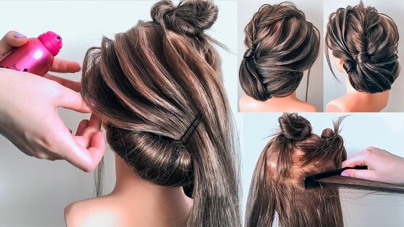 Красивая Прическа без валика пошагово Прически на темных волосах Низкий пучок ©LOZNITSA