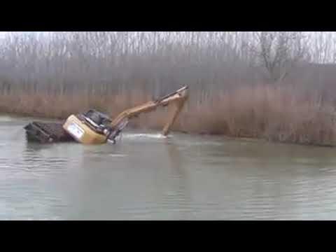 Floating Excavator capsizes
