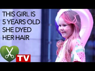 This gir is 5 years old!! she dyed her hair!!! hairdresser tv