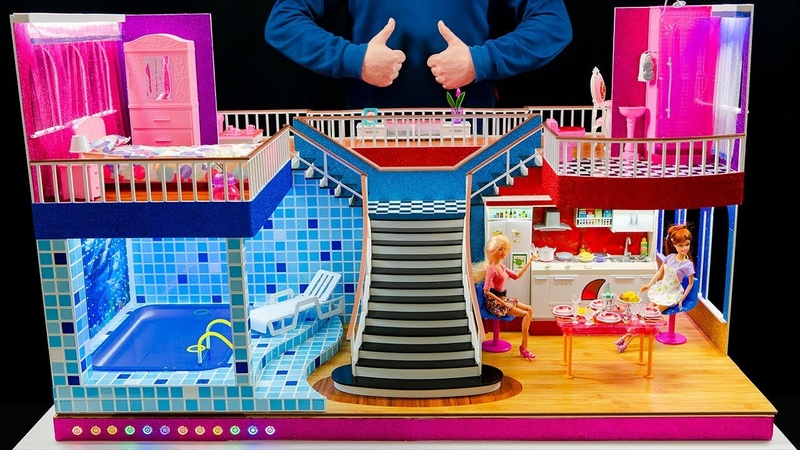 DIY Miniature Doll House Rooms Barbie Crafts Bedroom and swimming pool backlit living room