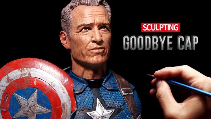 Sculpting Realistic Old Captain America Steve Rogers Sculpture Timelapse - Avangers Endgame