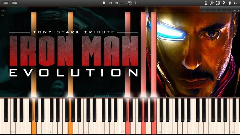 Iron Man Evolution Piano Mashup - Tony Stark Tribute (Synthesia Piano Tutorial)SHEETSMIDI