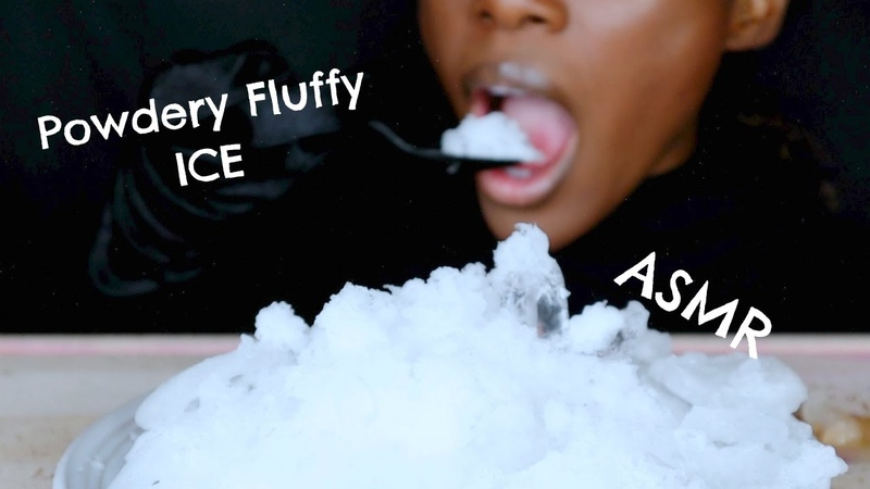 ASMR White Fluffy Powdery Ice Satisfying Ice Eating ASMR *Ice Chewing Sounds No Talking* ASMR Girl