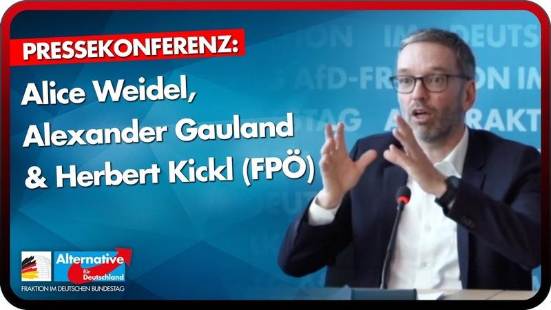 Alice Weidel Alexander Gauland und Herbert Kickl FPÖ zur interparlamentarischen Zusammenarbeit